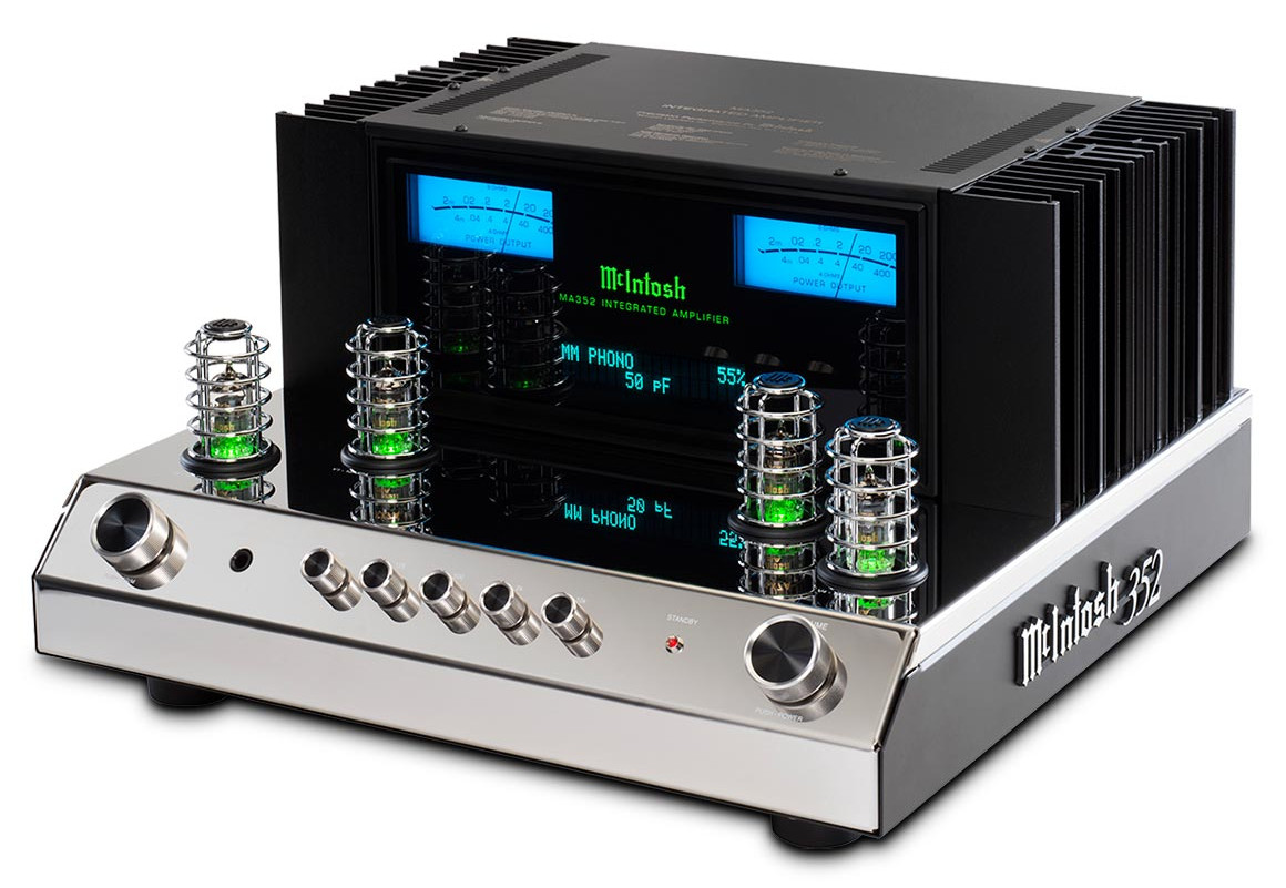 McIntosh's MA 352 integrated amplifiers features a hybrid valve pre-amp section coupled to a solid state power amplifier