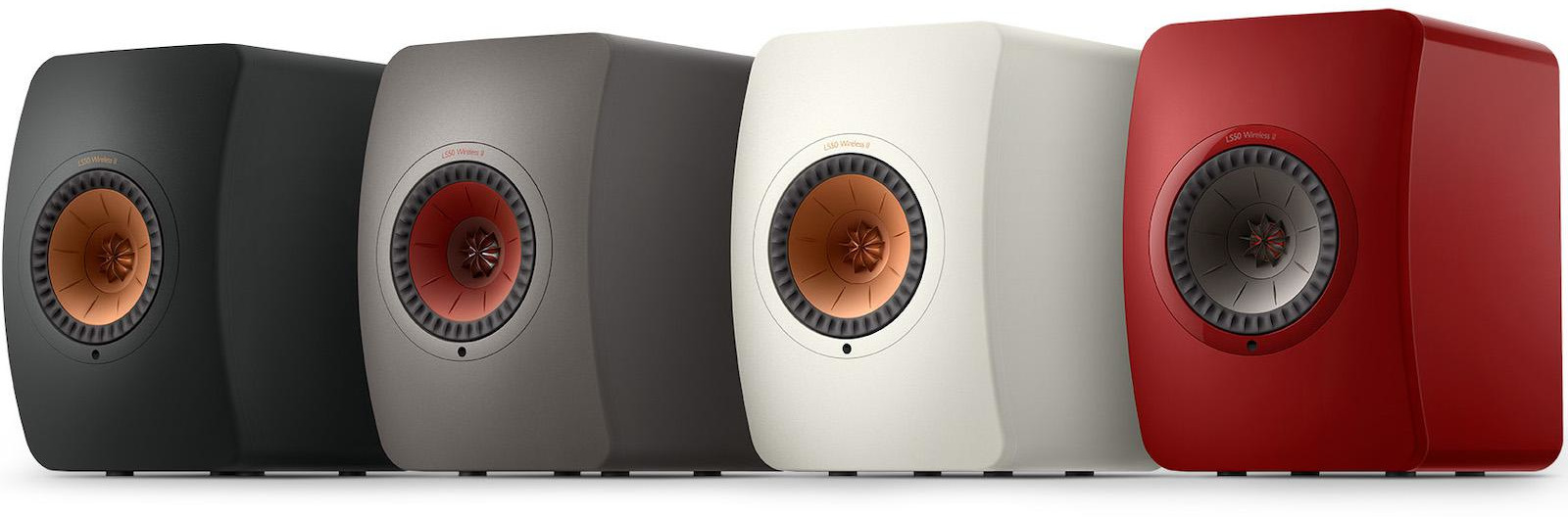 KEF's LS50 Wireless II. Packed to the gills with wireless features. Seen here in all the four colour options.